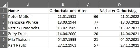 Alter berechnen in Microsoft Excel - Tabelle nächster Geburtstag