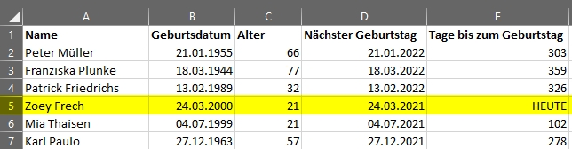 Alter berechnen in Microsoft Excel - Vollständige Liste Geburtstag heute