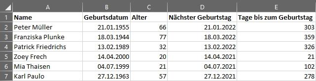 Alter berechnen in Microsoft Excel - Vollständige Liste