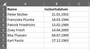 Alter berechnen in Microsoft Excel - fiktive Tabelle