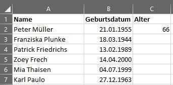 Alter berechnen in Microsoft Excel - mit alter einem Eintrag