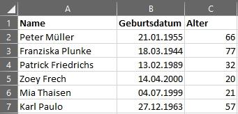 Alter berechnen in Microsoft Excel - mit alter