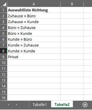 Auswahlliste tabelle 2 richtung