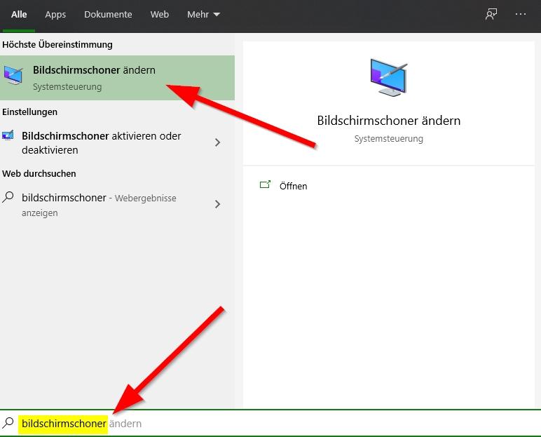 Bildschirmschoner-suchen-und-Bildschirmschoner-ändern-anklicken