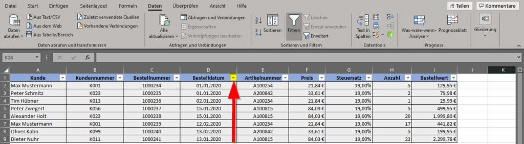 Filter-aktiviert-Pfeil-nach-unten-Symbol