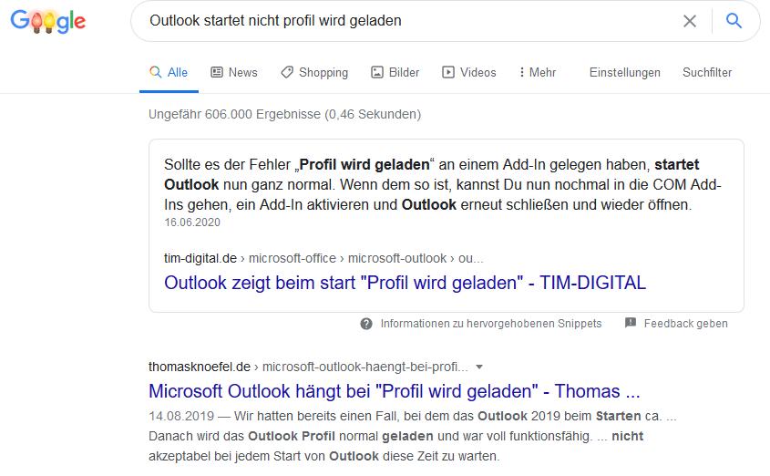 Google Suche Outlook startet nicht Profil wird geladen - Besucherzahlen steigern 2020