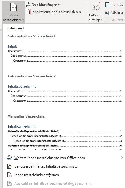 Inhaltsverzeichnis-Kontext-menü