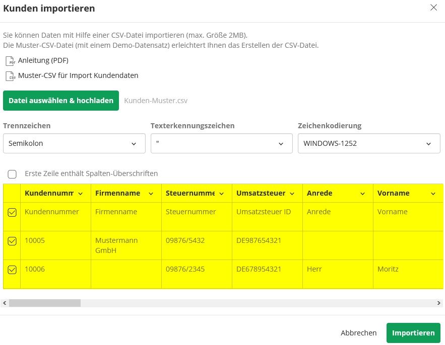 Kontakte importieren in lexware - Vorschau bei Import
