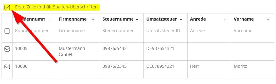 Kontakte importieren in lexware - erste Zeile enthält Spalten-Überschriften