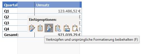 Microsoft Word - Einfügeoptionen Verknüpfen und urspüngliche Formatierung beibhalten (F)