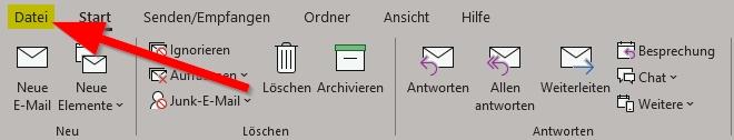 Outlook Reiter Datei anklicken