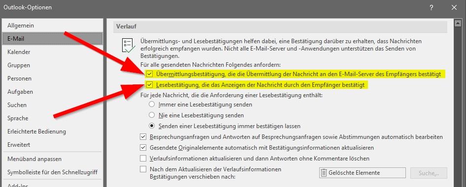 Outlook Zustell und Leseoptionen dauerhaft aktivieren