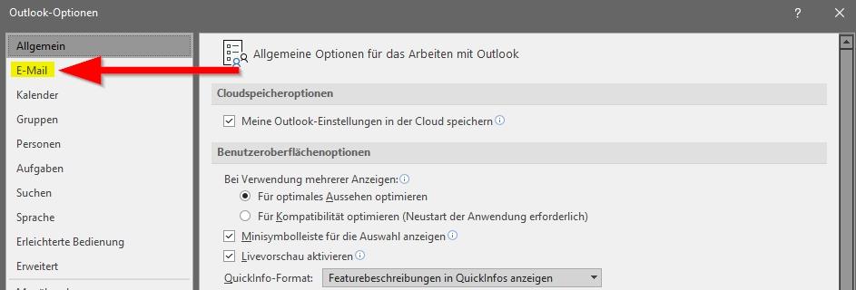 Outlook Fenster Optionen klicke auf E-Mail