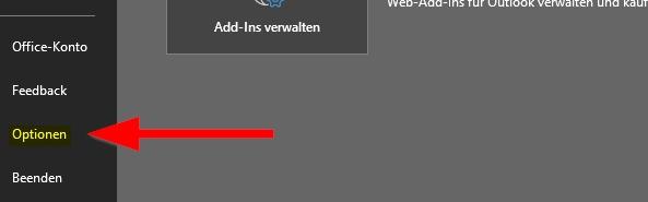 Outlook klicke auf Optionen