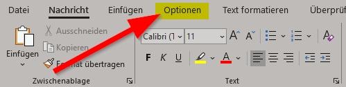 Outlook neue E-Mail klicke auf Optionen