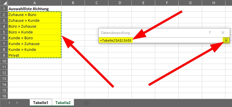 Quelle auswahl und pfeil-nach-unten-Symbol anklicken