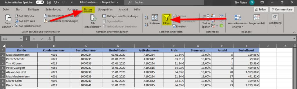 Reiter-Daten-Klicke-auf-Filtern