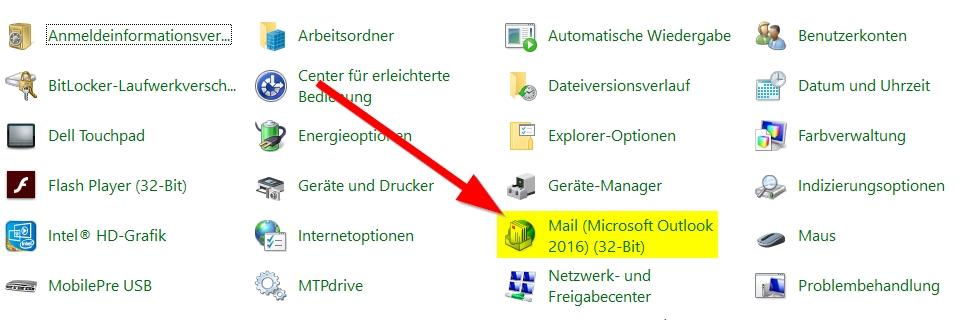 Systemsteuerung-Mail-auswählen