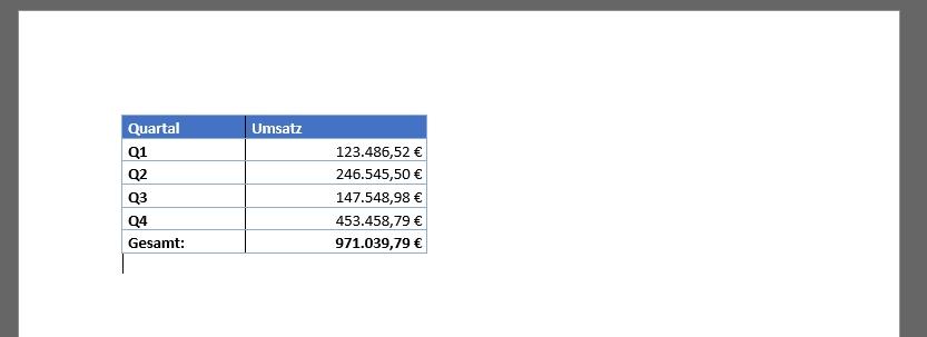 Tabelle aus Excel kopieren und in Word einfügen