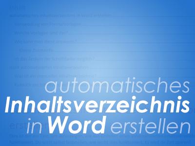 automatisches Inhaltsverzeichnis in Word erstellen
