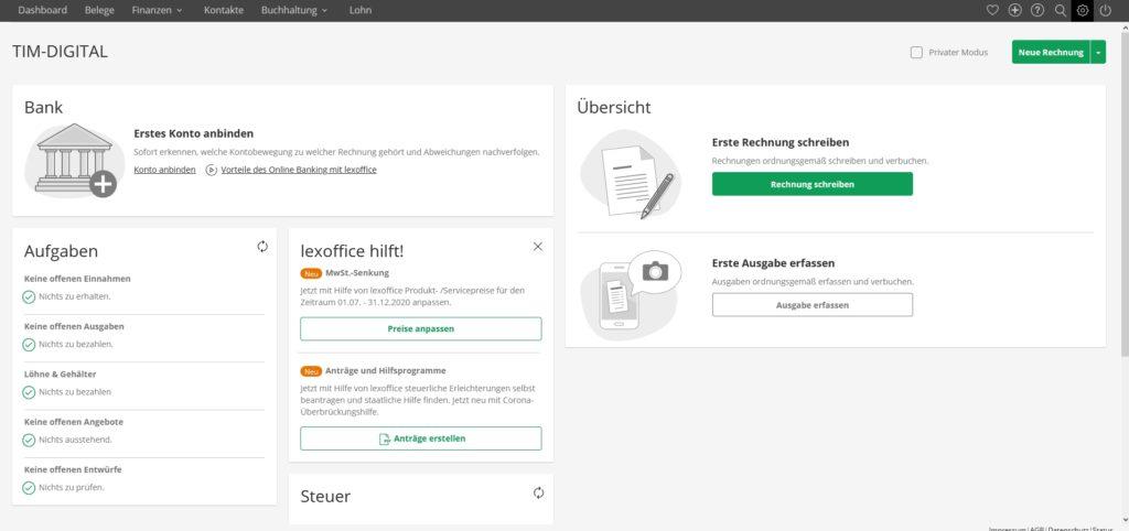 lexoffice - dashboard